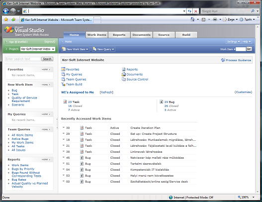 Team Systems Web Access Main Screen