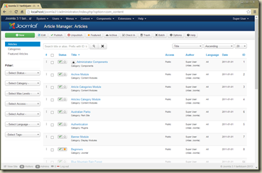 Joomla 3.2 Administrator Article List