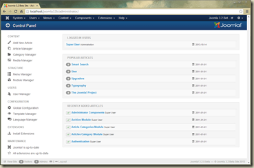 Joomla 3.2 Administrator Control Panel