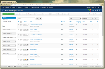 Joomla 3.1 Administrator Article List
